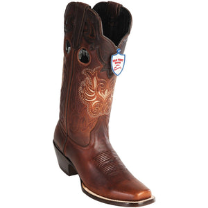 Wild West Boots Womens Genuine Leather Wild Rodeo Western Boots Color-Walnut