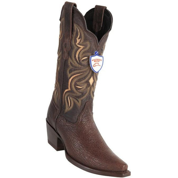 Wild West Boots Womens Genuine Shark Skin Snip Toe Western Boot Color-Brown