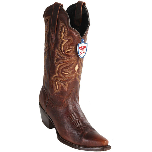 Wild West Boots Womens Genuine Leather Snip Toe Western Boot Color-Walnut