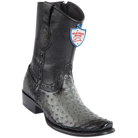 Wild-West-Boots-Mens-Ostrich-Dubai-Toe-Short-Boots-Color-Faded-Grey