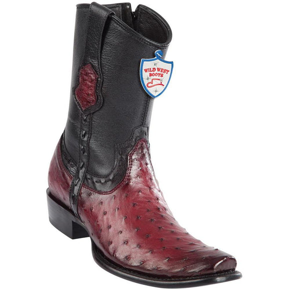 Wild-West-Boots-Mens-Ostrich-Dubai-Toe-Short-Boots-Color-Faded-Burgundy