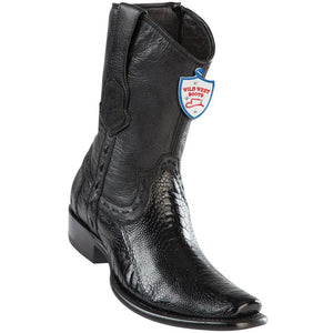 Wild-West-Boots-Mens-Genuine-Leather-Ostrich-Leg-Dubai-Toe-Short-Boots-Color-Black