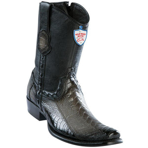 Wild-West-Boots-Mens-Genuine-Leather-Ostrich-Leg-Dubai-Toe-Short-Boots-Color-Faded-Grey