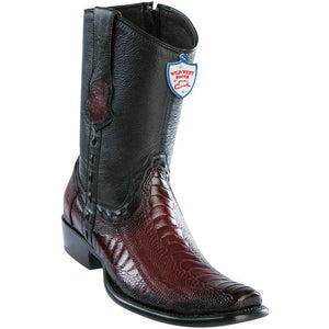 Wild-West-Boots-Mens-Genuine-Leather-Ostrich-Leg-Dubai-Toe-Short-Boots-Color-Faded-Burgundy