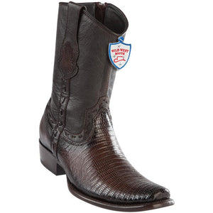 Wild-West-Boots-Mens-Genuine-Leather-Lizard-Skin-Dubai-Toe-Short-Boots-Color-Faded-Brown