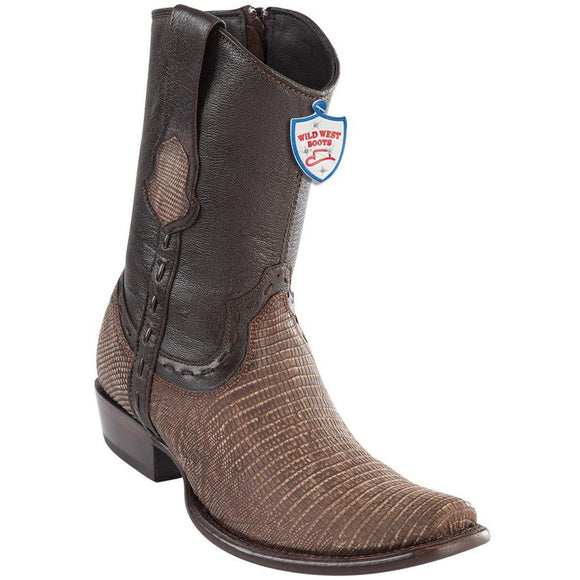 Wild-West-Boots-Mens-Genuine-Leather-Lizard-Skin-Dubai-Toe-Short-Boots-Color-Sanded-Brown