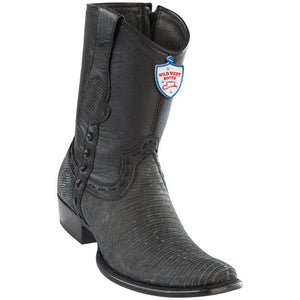 Wild-West-Boots-Mens-Genuine-Leather-Lizard-Skin-Dubai-Toe-Short-Boots-Color-Sanded-Black