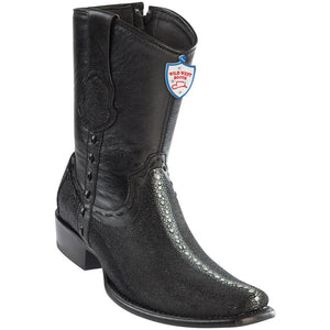 Wild-West-Boots-Mens-Genuine-Leather-Stingray-Rowstone-and-Deer-Dubai-Toe-Short-Boots-Color-Black