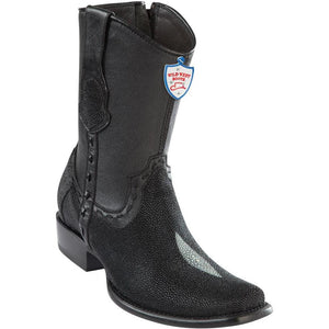 Wild-West-Boots-Mens-Genuine-Leather-Stingray-Single-Stone-and-Deer-Dubai-Toe-Short-Boots-Color-Black