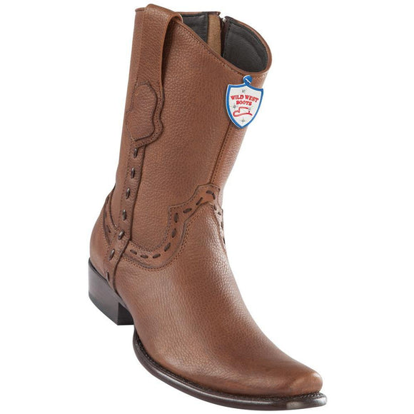 Wild-West-Boots-Mens-Genuine-Leather-Grisly-Leather-Dubai-Toe-Short-Boots-Color-Brown