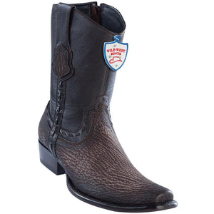 Wild-West-Boots-Mens-Genuine-Leather-Shark-Skin-Dubai-Toe-Short-Boots-Color-Faded-Brown