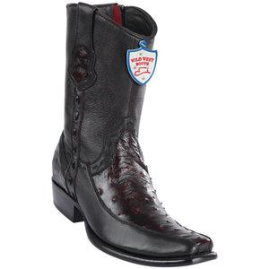 Wild-West-Boots-Mens-Genuine-Leather-Ostrich-and-Deer-Dubai-Toe-Short-Boots-Color-Black-Cherry