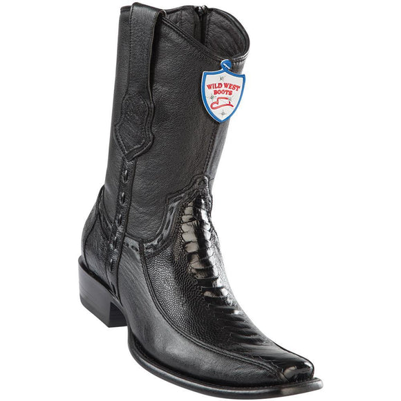 Wild-West-Boots-Mens-Genuine-Leather-Ostrich-Leg-and-Deer-Dubai-Toe-Short-Boots-Color-Black