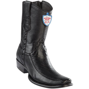 Wild-West-Boots-Mens-Genuine-Leather-Lizard-and-Deer-Dubai-Toe-Short-Boots-Color-Black