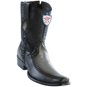 Wild-West-Boots-Mens-Genuine-Leather-Lizard-and-Deer-Dubai-Toe-Short-Boots-Color-Faded-Grey