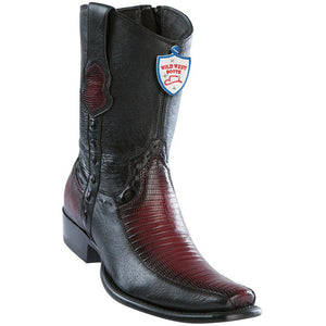 Wild-West-Boots-Mens-Genuine-Leather-Lizard-and-Deer-Dubai-Toe-Short-Boots-Color-Faded-Burgundy