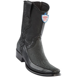 Wild-West-Boots-Mens-Genuine-Leather-Lizard-and-Deer-Dubai-Toe-Short-Boots-Color-Sanded-Black