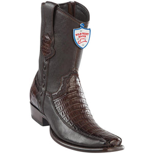 Wild-West-Boots-Mens-Genuine-Leather-Caiman-Belly-and-Deer-Dubai-Toe-Short-Boots-Color-Faded-Brown