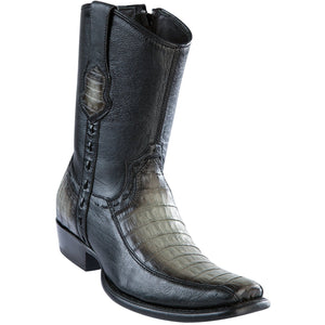 Wild-West-Boots-Mens-Genuine-Leather-Caiman-Belly-and-Deer-Dubai-Toe-Short-Boots-Color-Faded-Grey