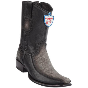 Wild-West-Boots-Mens-Genuine-Leather-Shark-and-Deer-Dubai-Toe-Short-Boots-Color-Faded-Grey