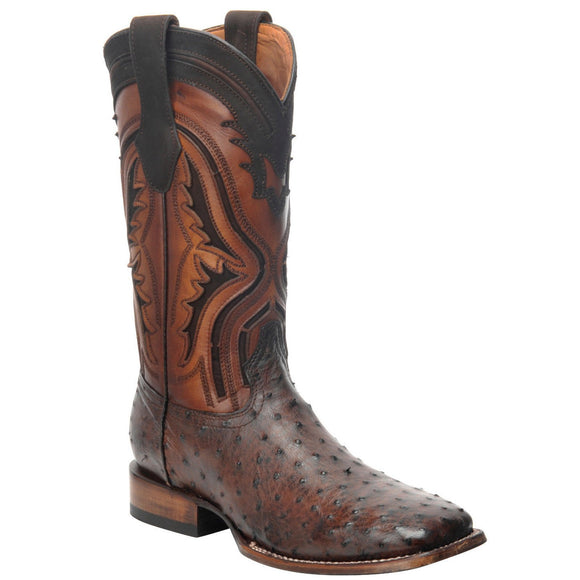 Cuadra Men's Everest Chocolate Ostrich Square Toe Boot - RR Western Wear, Cuadra Men's Everest Chocolate Ostrich Square Toe Boot