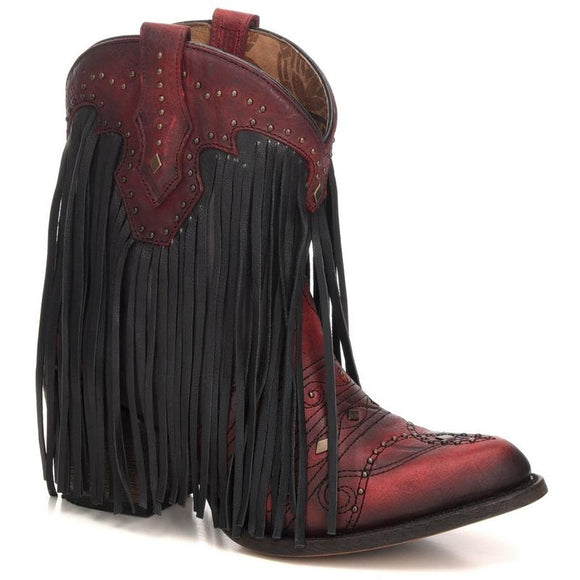Women's Corral Fringe Ankle Boots Handcrafted - C3366