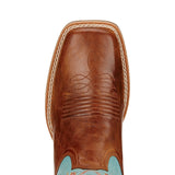 Ariat Womens Round Up Ryder Wood/Sky Blue Western Boots