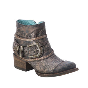 Corral Brown Floral Embossed Strap Shortie Boot - RR Western Wear, Corral Brown Floral Embossed Strap Shortie Boot