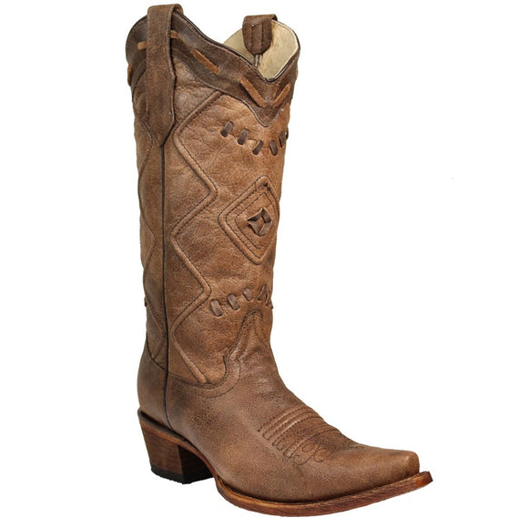 Women's Corral Circle G Embroidered Woven Snip Toe Western Boots Brown