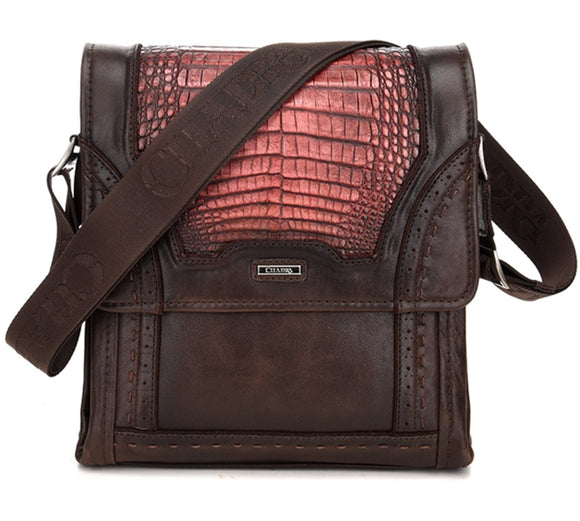 Cuadra Lumber Whisky Caiman Belly Messenger Bag - RR Western Wear, Cuadra Lumber Whisky Caiman Belly Messenger Bag