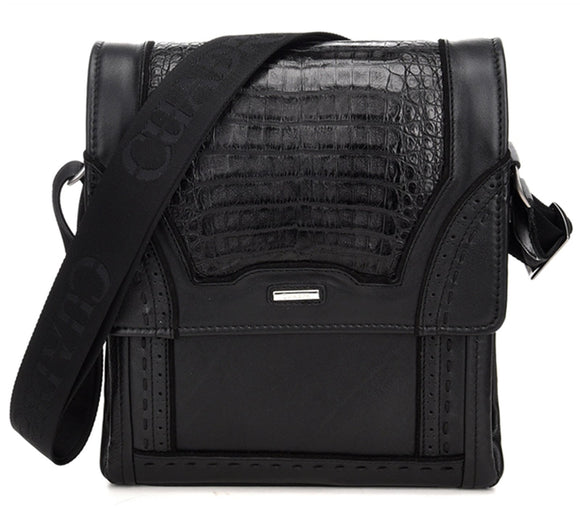 Cuadra Black Caiman Belly Messenger Bag - RR Western Wear, Cuadra Black Caiman Belly Messenger Bag