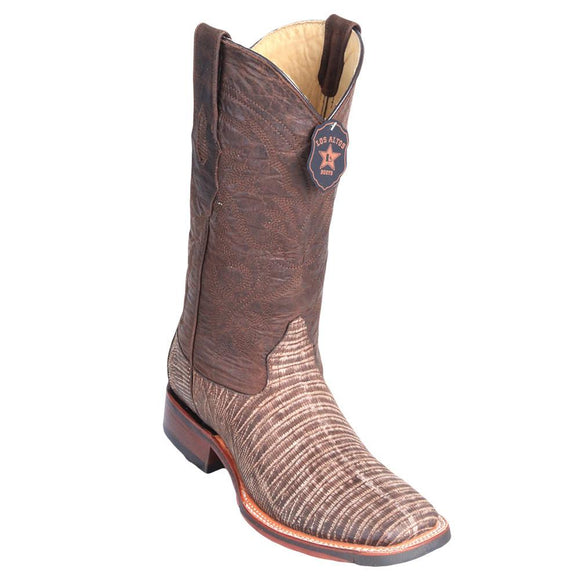 Sanded-Brown-Lizard-Wide-Square-Toe-Boot