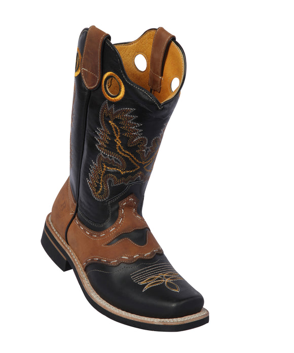 Potro-Rebelde-Womens-Grasso-and-Crazy-Leather-Black/Brown-Rodeo-Toe-Western-Boot
