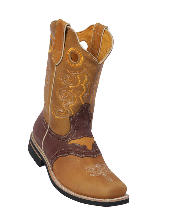 Potro-Rebelde-Womens-Grasso-and-Crazy-Leather-Honey/Chocolate-Rodeo-Toe-Western-Boot