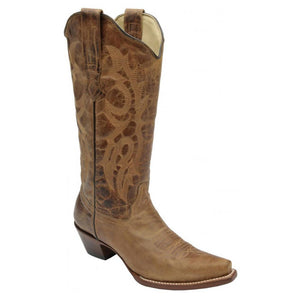 Corral Brown Waxy Tall Snip Toe Boot - RR Western Wear, Corral Brown Waxy Tall Snip Toe Boot