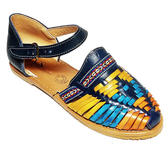 Womens Leather Sandals Huarache Color Blue Multi Color