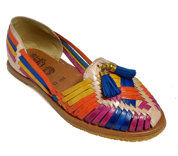 Womens Leather Sandals Huarache with Bell Design Color Tan Multi Color