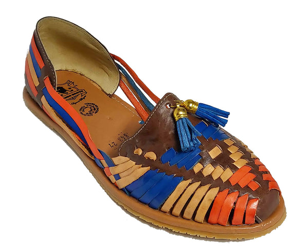 Womens Leather Sandals Huarache with Bell Design Color Brown Multi Color