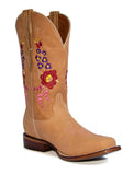 El General Women's The Red Rose of Texas Collection Honey Rose Rodeo Toe Western Boots