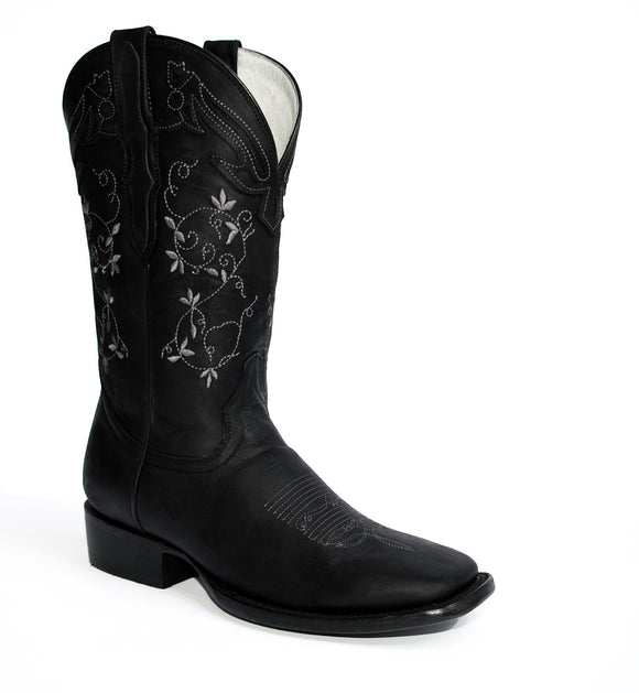 El General Women's The Red Rose of Texas Collection Black Rodeo Toe Western Boots