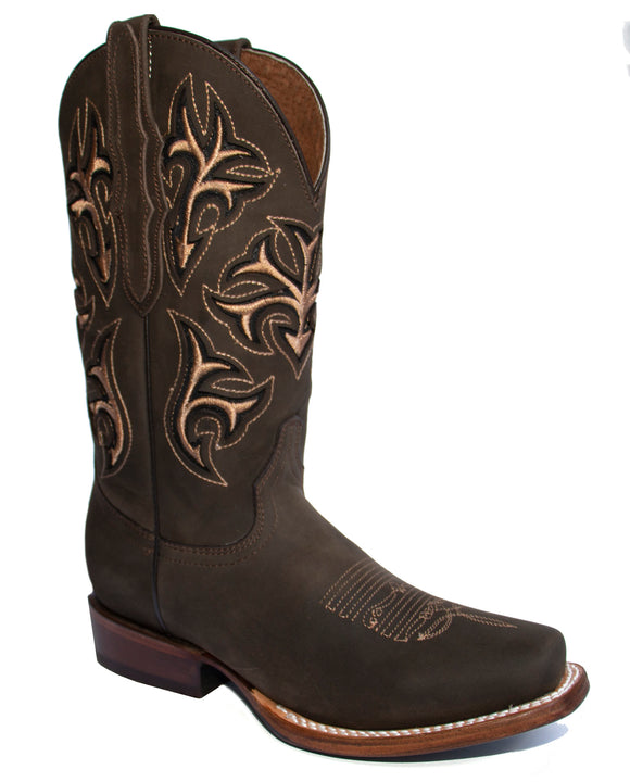 El General Women's The Red Rose of Texas Collection Brown Rodeo Toe Western Boots