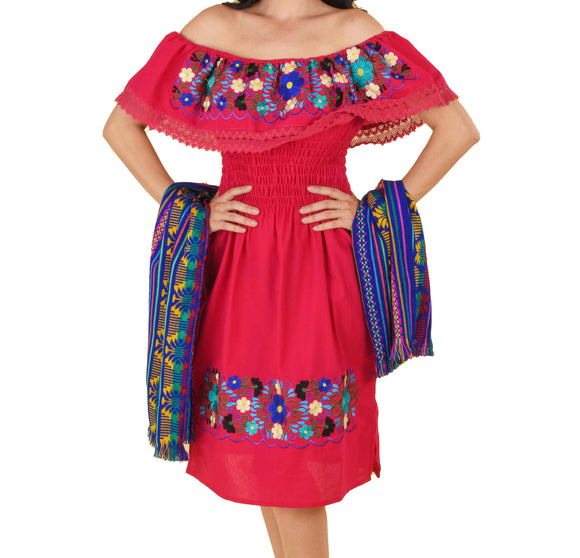 Womens-Traditional-Embroidered-Manta-Off-Shoulder-Dress-Floral-Red