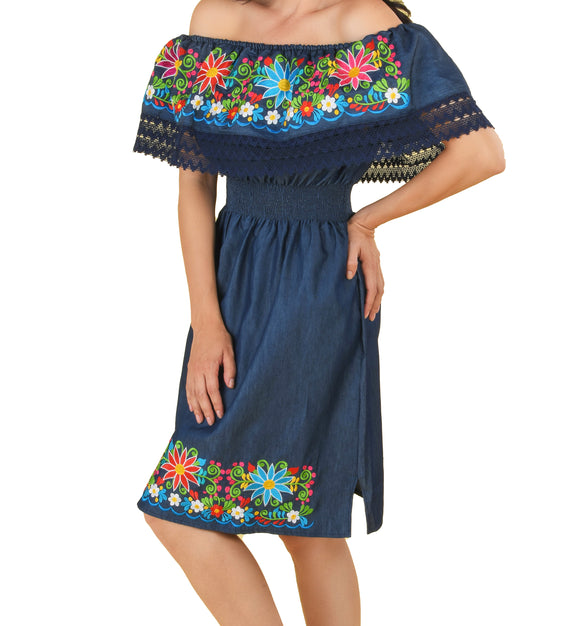 Womens-Traditional-Embroidered-Manta-Off-Shoulder-Dress-Floral-Navy