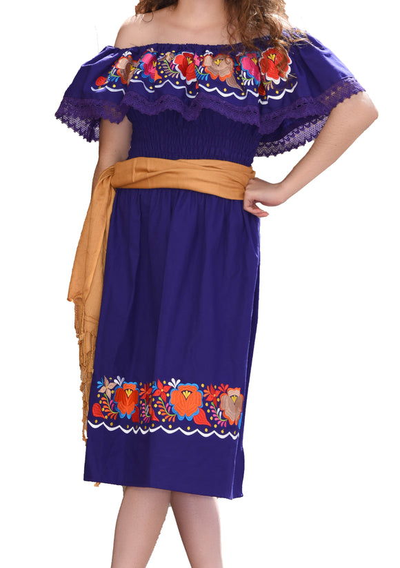 Womens-Traditional-Embroidered-Manta-Off-Shoulder-Dress-Floral-Loop-Purple