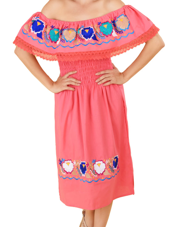 Womens-Traditional-Embroidered-Manta-Off-Shoulder-Dress-Floral-Loop-Peach