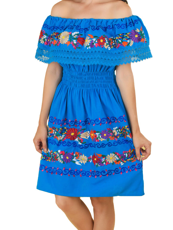 Womens-Traditional-Embroidered-Manta-Off-Shoulder-Dress-Floral-Royal-Blue