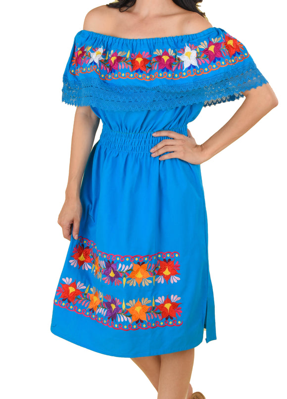 Womens-Traditional-Embroidered-Manta-Off-Shoulder-Dress-Floral-Loop-Blue