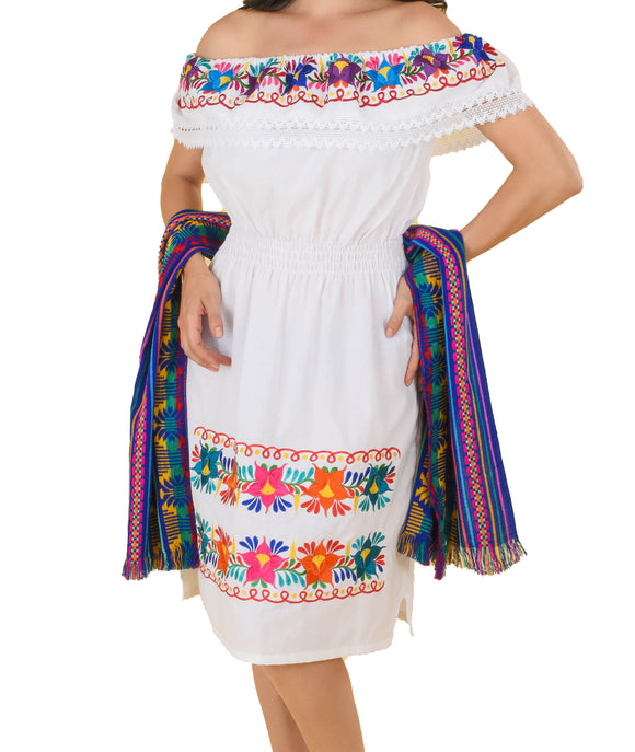 Womens-Traditional-Embroidered-Manta-Off-Shoulder-Dress-Floral-Loop-White