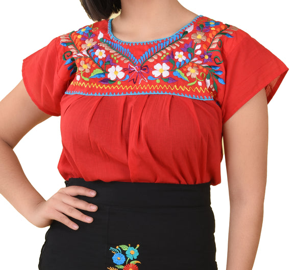 Womens-Traditional-Embroidered-Manta-Shirt-Floral-Neckline-Red