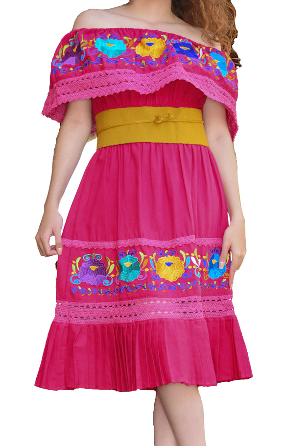 Womens-Traditional-Embroidered-Manta-Off-Shoulder-Pleated-Bottom-Dress-Floral-Pink